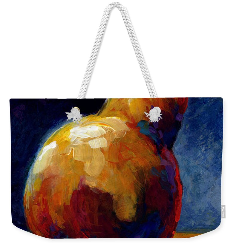 Pear Weekender Tote Bag featuring the painting Pearfect by Marion Rose