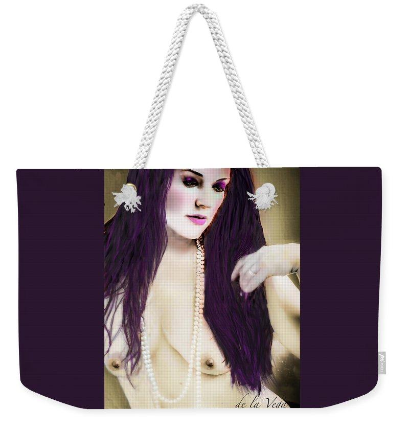 Nude Weekender Tote Bag featuring the digital art Pearls by Jean Hall