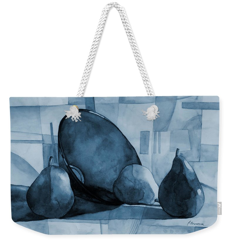 Mono Weekender Tote Bag featuring the painting Pears And Blue Bowl On Blue by Hailey E Herrera