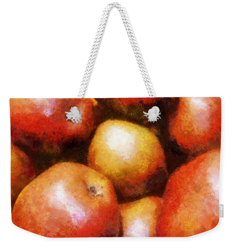 Fruit Weekender Tote Bag featuring the painting Pears D'anjou by RC DeWinter