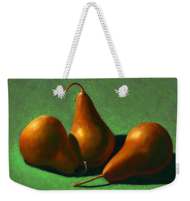 Still Life Weekender Tote Bag featuring the painting Pears by Frank Wilson
