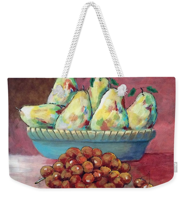 Still Life. Fruit. Pears. Grapes. Weekender Tote Bag featuring the painting Pears In A Bowl by Anthony D'Abramo