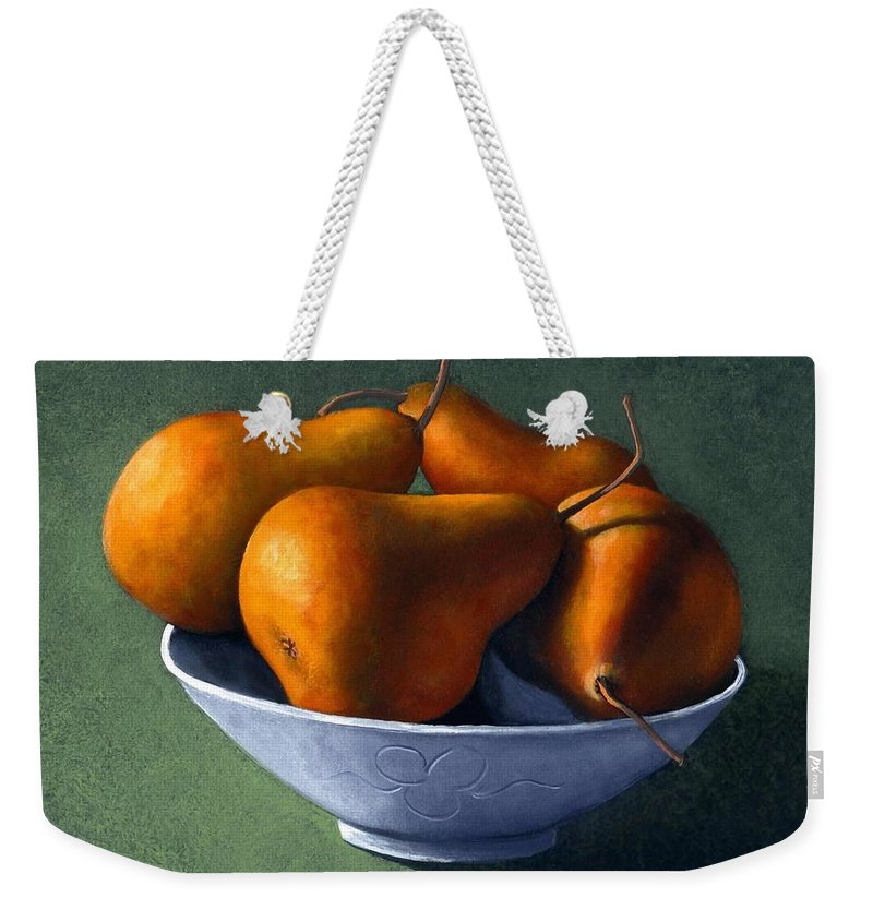 Still Life Weekender Tote Bag featuring the painting Pears In Blue Bowl by Frank Wilson