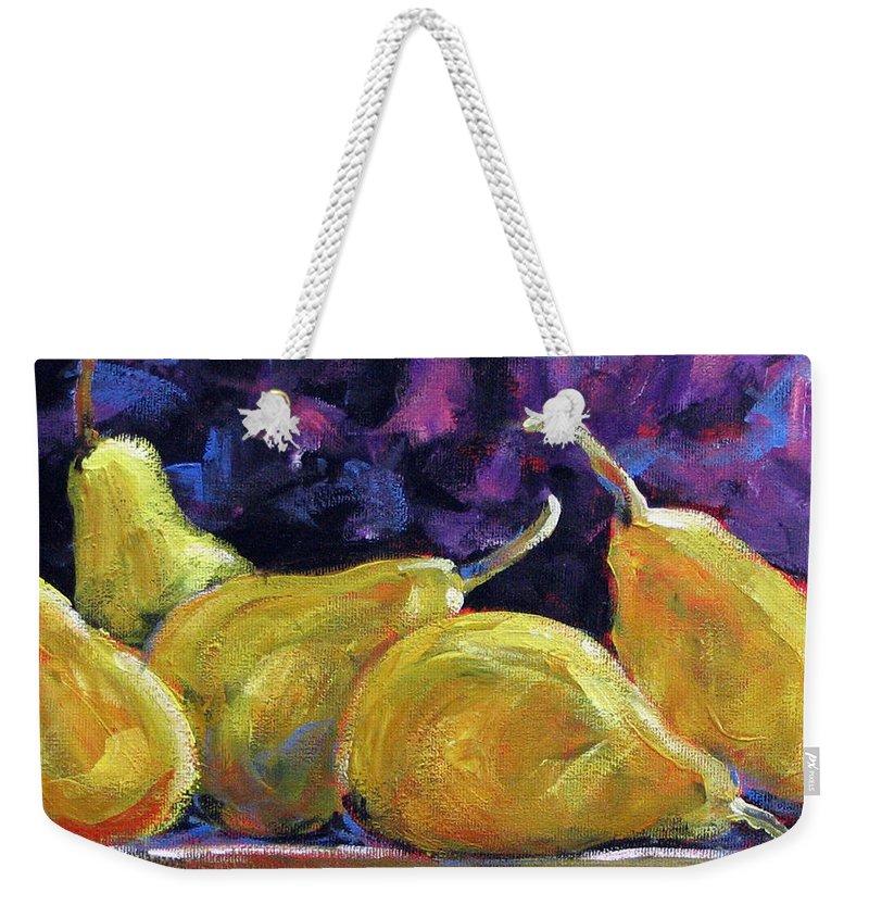 Art Weekender Tote Bag featuring the painting Pears Mioummmmmmmmmm by Richard T Pranke