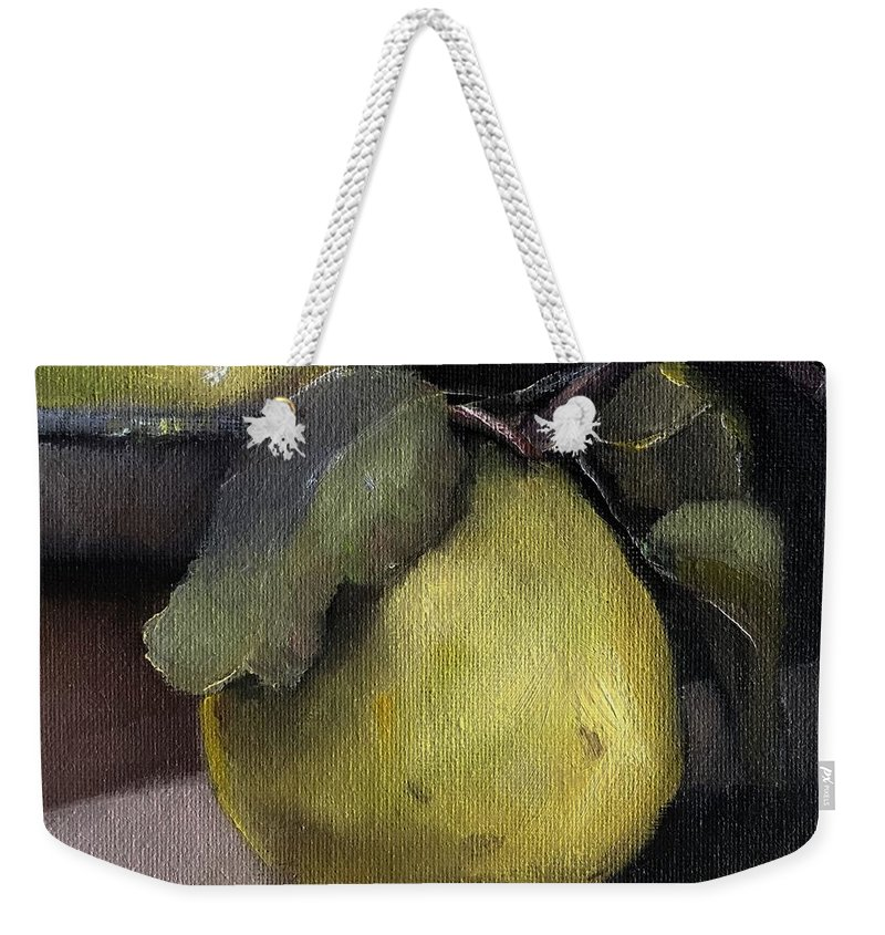 Fruit Weekender Tote Bag featuring the painting Pears Stilllife Painting by Michele Carter