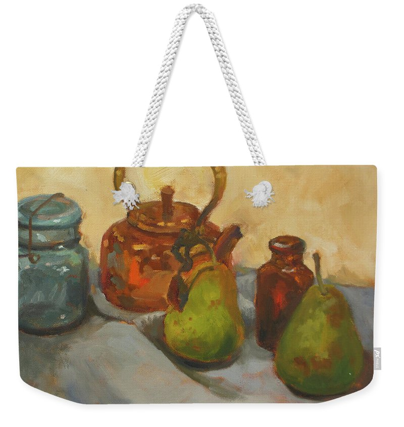 Copper Kettle Weekender Tote Bag featuring the painting Pears With Copper Kettle by Nora Sallows