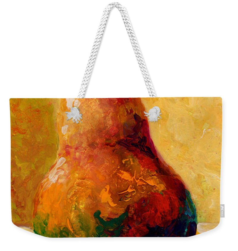 Pear Weekender Tote Bag featuring the painting Pearsonality by Marion Rose