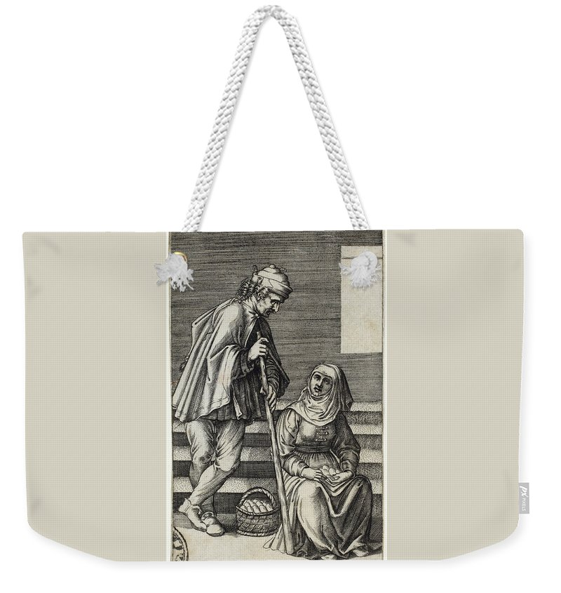 Agostino Dei Musi Weekender Tote Bag featuring the drawing Peasant And Egg Woman by Agostino dei Musi