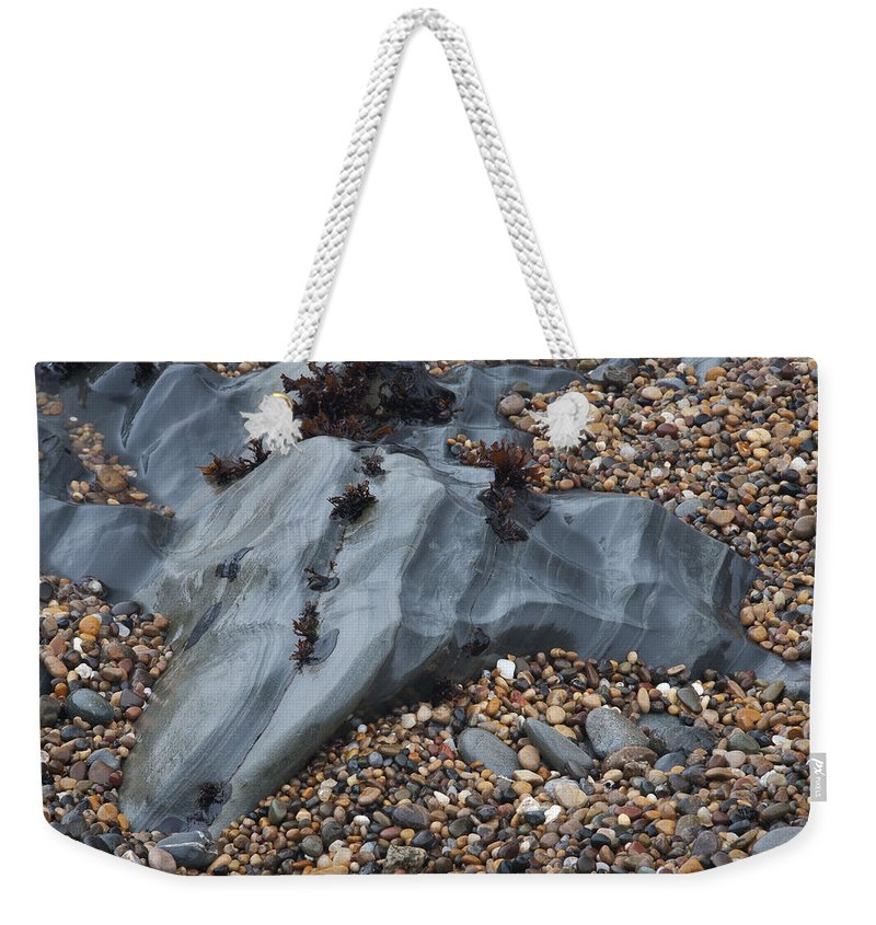 Pebble Weekender Tote Bag featuring the photograph Pebble Beach Rocks 8715 by Bob Neiman