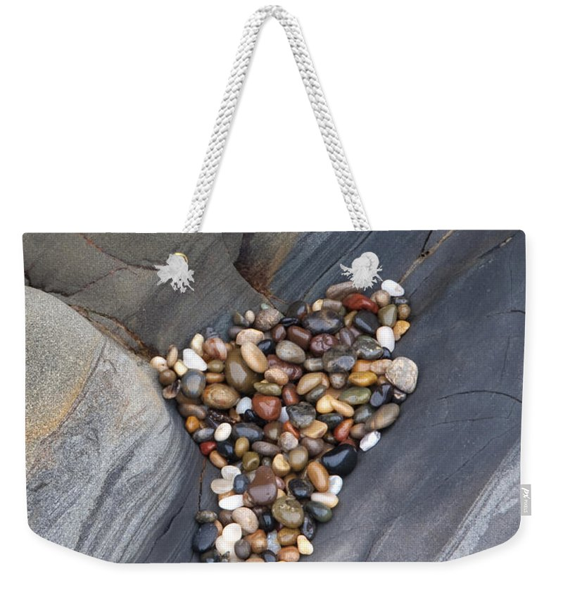 Pebble Weekender Tote Bag featuring the photograph Pebble Beach Rocks 8778 by Bob Neiman