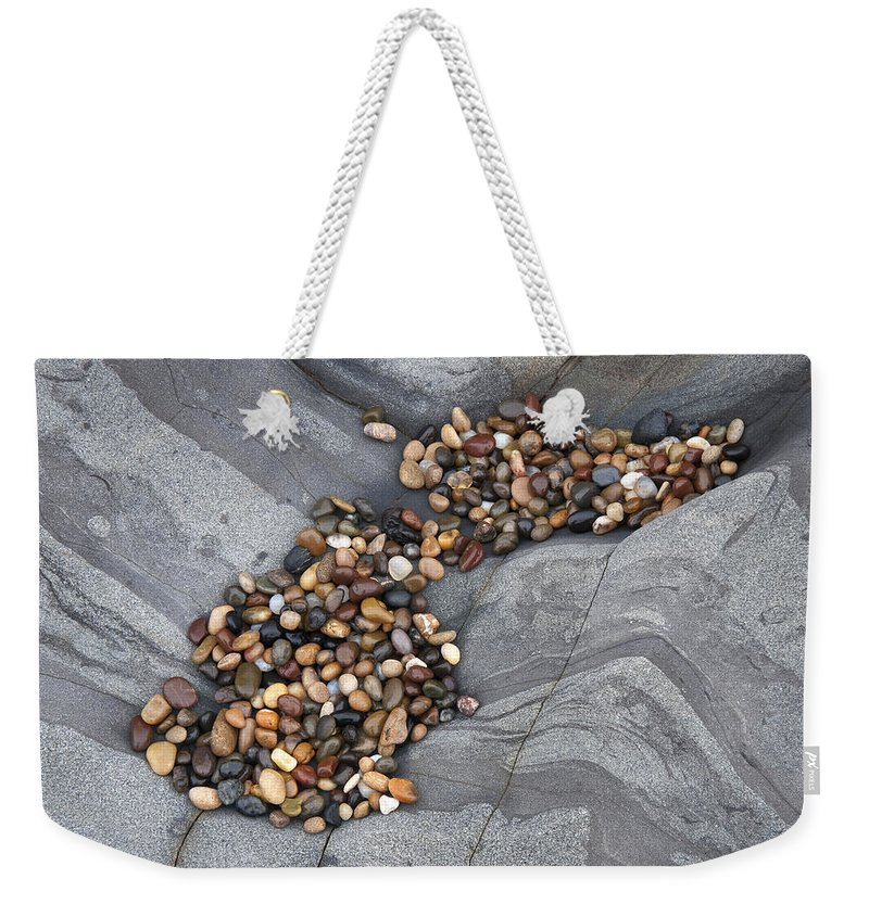 Gray Weekender Tote Bag featuring the photograph Pebble Beach Rocks 8787 by Bob Neiman