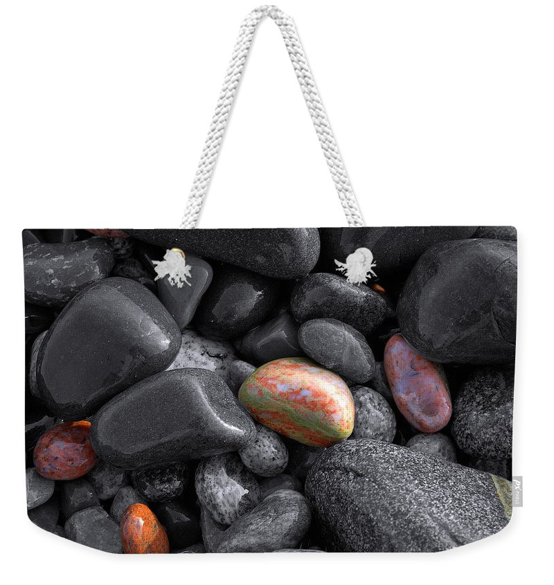 Lake Superior Weekender Tote Bag featuring the photograph Pebble Jewels  by Doug Gibbons