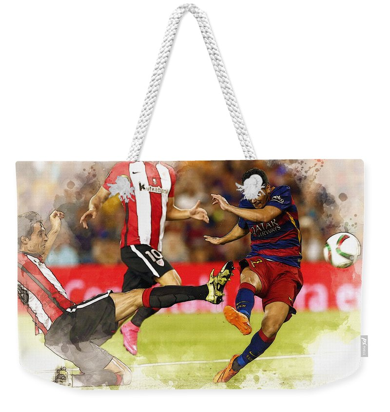 Uefa Chamipons League Weekender Tote Bag featuring the digital art Pedro Rodriguez Kicks The Ball by Don Kuing