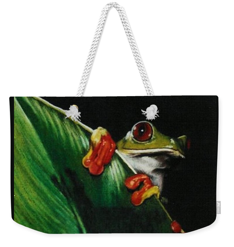 Frog Weekender Tote Bag featuring the drawing Peek-a-boo by Barbara Keith