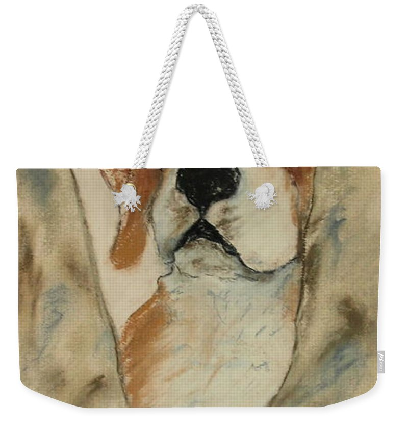 Beagle Weekender Tote Bag featuring the drawing Peek A Boo by Cori Solomon
