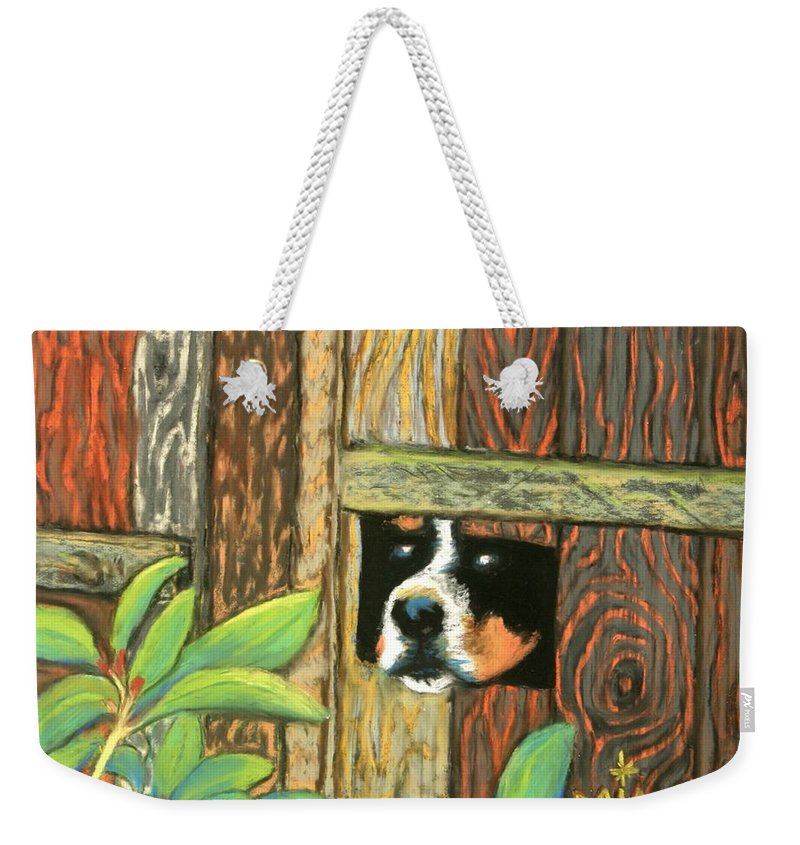 Dog Weekender Tote Bag featuring the painting Peek-a-boo Fence by Minaz Jantz