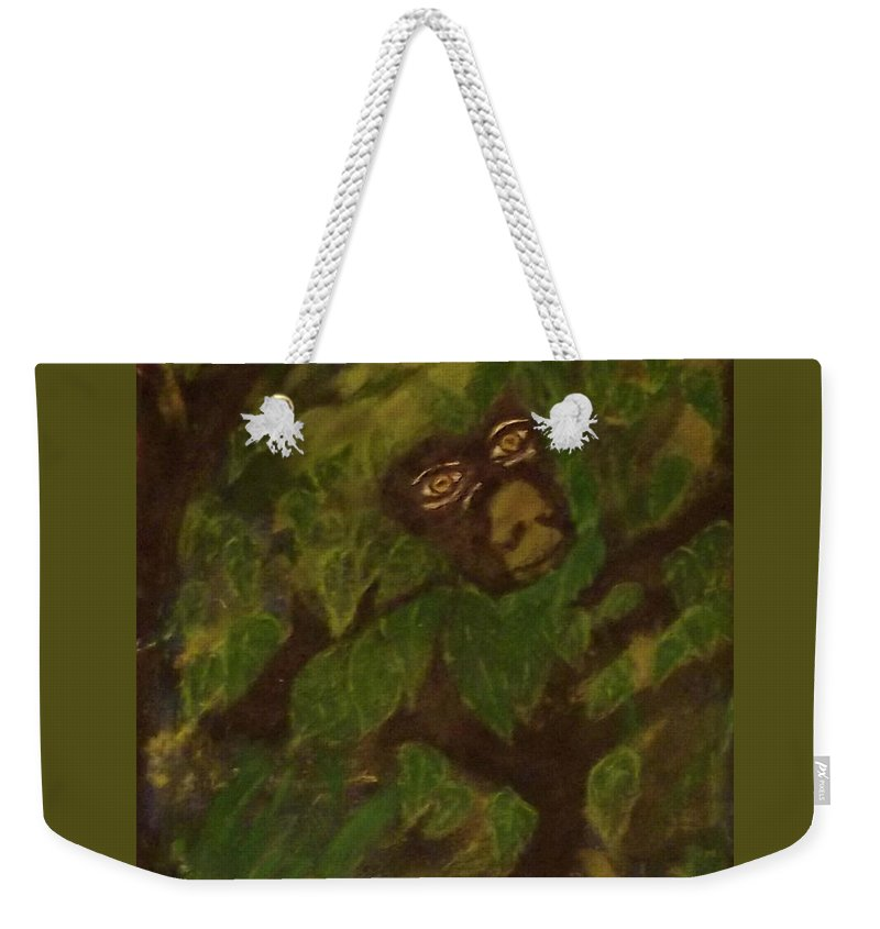 Monkey Jungle Animal Nature Weekender Tote Bag featuring the painting Peek A Boo Monkey- 040 by Will Logan