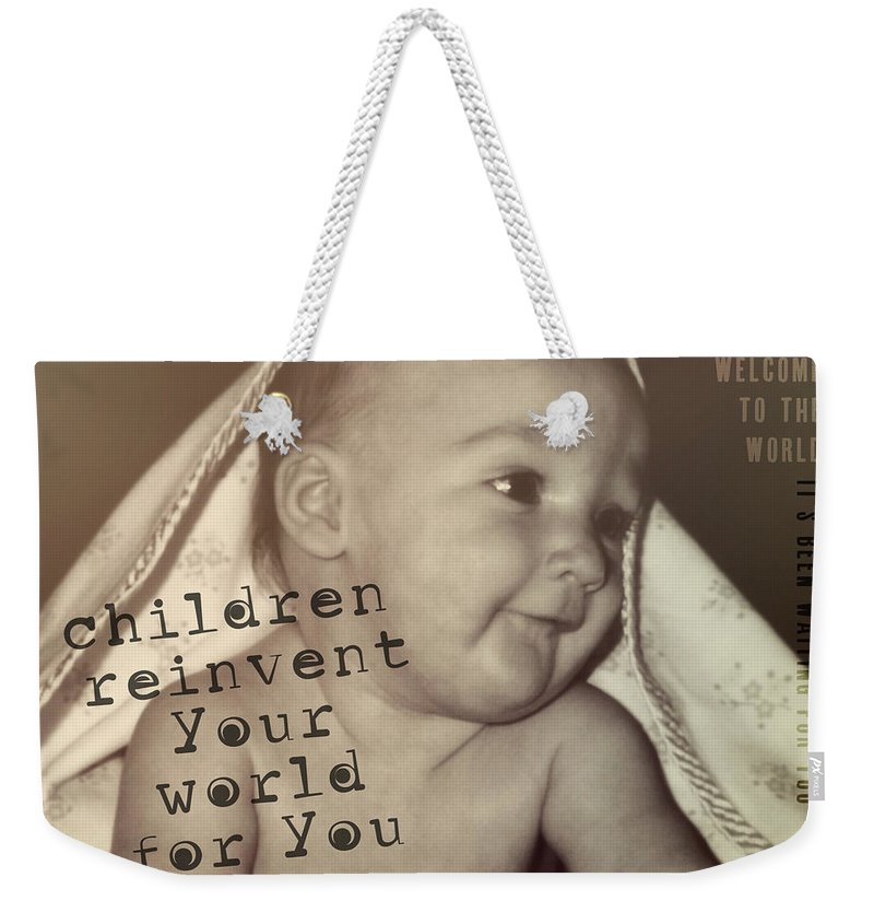 Baby Weekender Tote Bag featuring the photograph Peek A Boo Quote by JAMART Photography