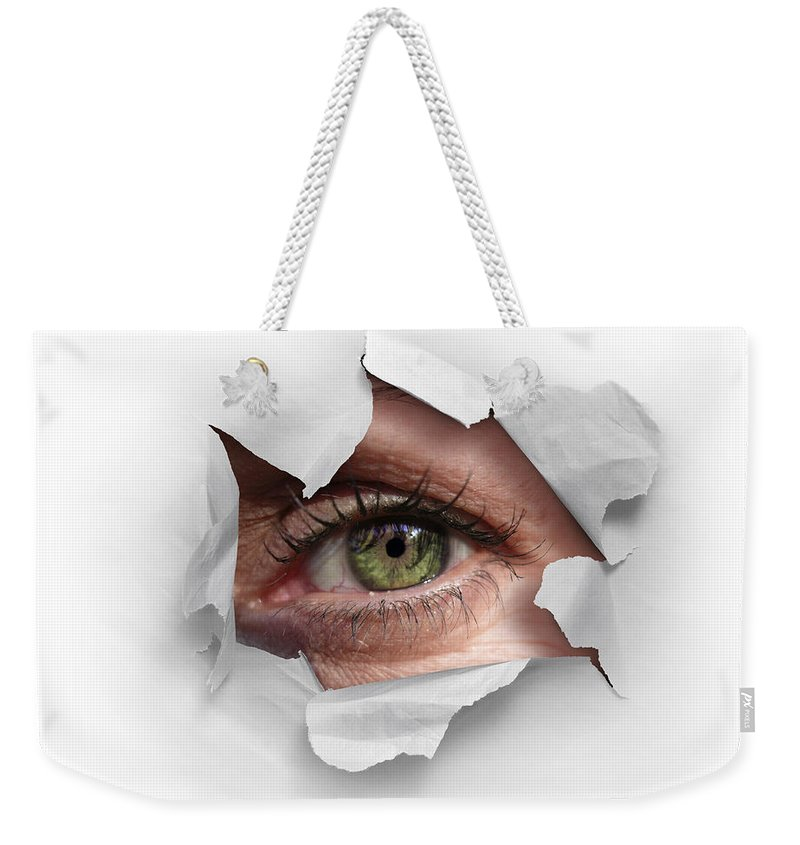 Abstract Weekender Tote Bag featuring the photograph Peek Through A Hole by Carlos Caetano