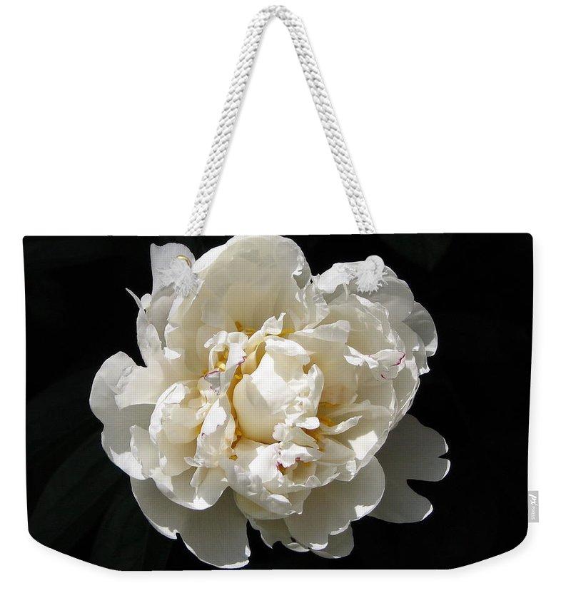 Flower Weekender Tote Bag featuring the photograph Peekaboo Peony by Mary Ellen Mueller Legault