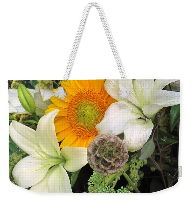 Lillies Weekender Tote Bag featuring the photograph Peeking Out by Ian MacDonald