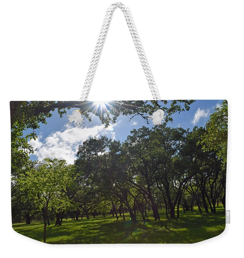 Sun Weekender Tote Bag featuring the photograph Peeping Sun by Tyeshia Barnes