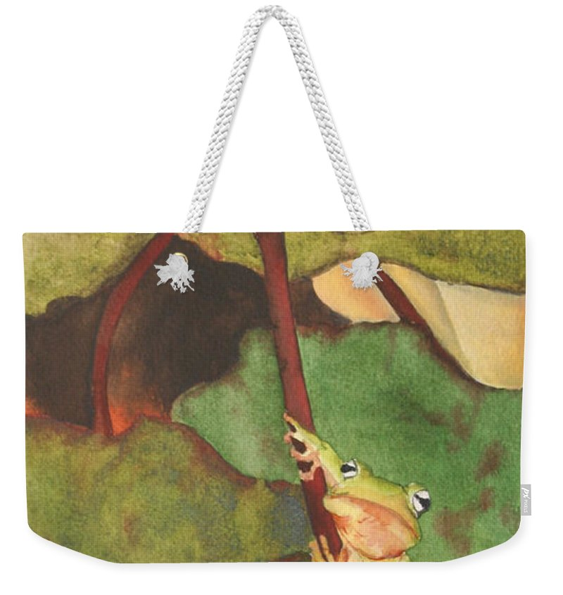 Frog Weekender Tote Bag featuring the painting Peeping Tom by Jean Blackmer