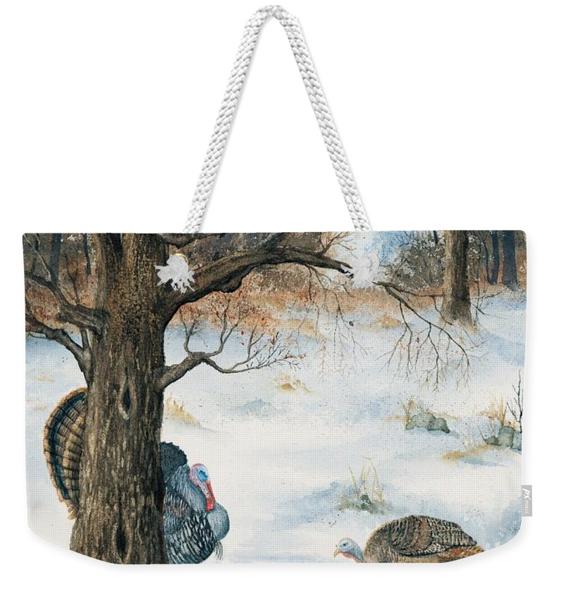 Turkey Weekender Tote Bag featuring the painting Peeping Tom by Mary Tuomi