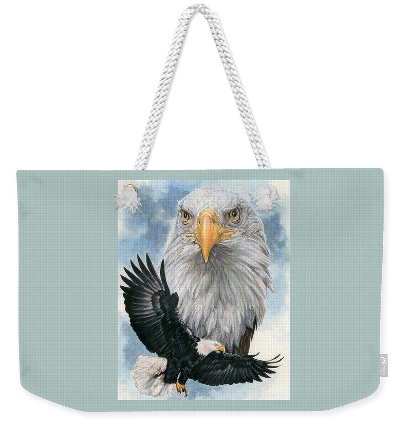 Bald Eagle Weekender Tote Bag featuring the mixed media Peerless by Barbara Keith
