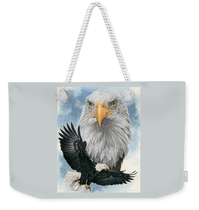 Bald Eagle Weekender Tote Bag featuring the mixed media Peerless by Barbara Keith