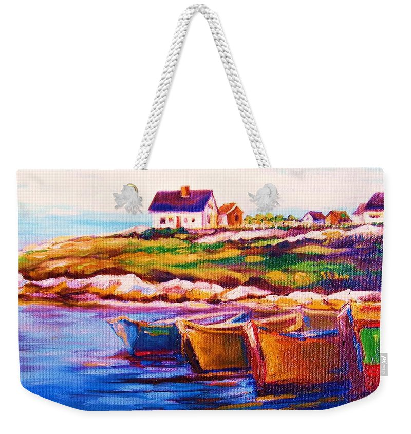 Row Boats Weekender Tote Bag featuring the painting Peggys Cove Four Row Boats by Carole Spandau