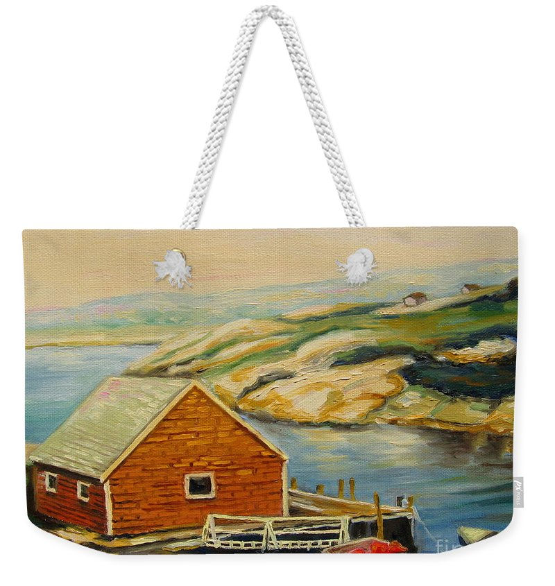 Peggy's Cove Harbor View Weekender Tote Bag featuring the painting Peggys Cove Harbor View by Carole Spandau