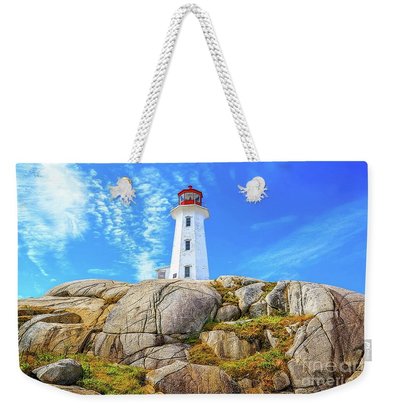 Peggy's Cove Lighthouse Weekender Tote Bag featuring the photograph Peggy's Cove Light House by Monica Hall