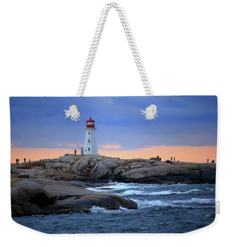 Canada Weekender Tote Bag featuring the photograph Peggy's Point Lighthouse, Nova Scotia, Canada by Gary Corbett