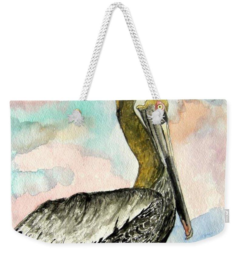 Watercolor Weekender Tote Bag featuring the painting Pelican 2 by Derek Mccrea