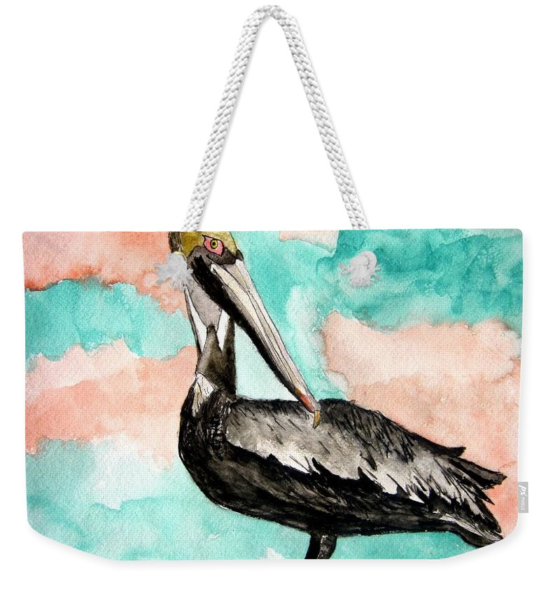 Bird Weekender Tote Bag featuring the painting Pelican 3 by Derek Mccrea