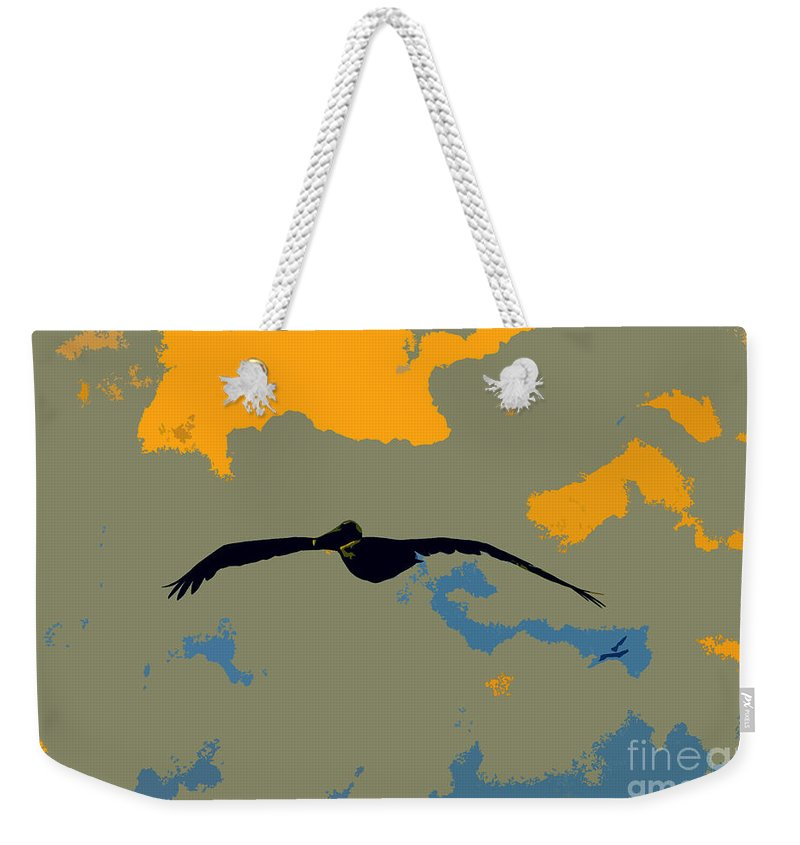 Pelican Weekender Tote Bag featuring the photograph Pelican And Airplane by David Lee Thompson