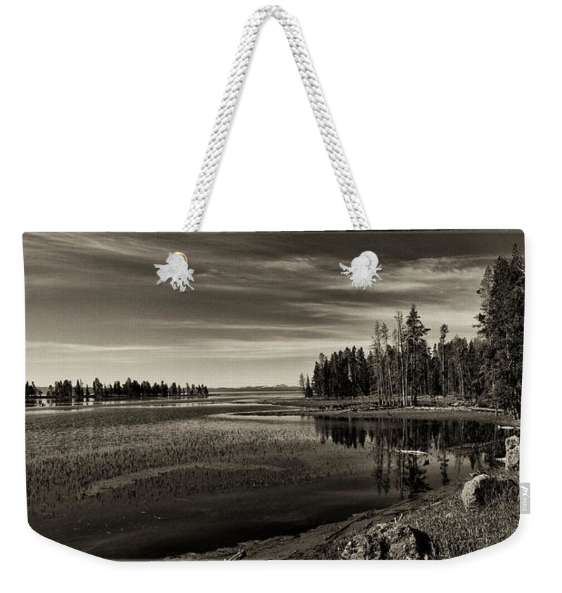 Yellowstone Weekender Tote Bag featuring the photograph Pelican Bay Morning - Yellowstone by Sandra Bronstein