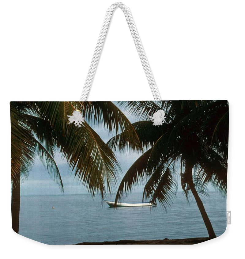 Blue Sky Weekender Tote Bag featuring the photograph Pelican Beach Belize by Gary Wonning