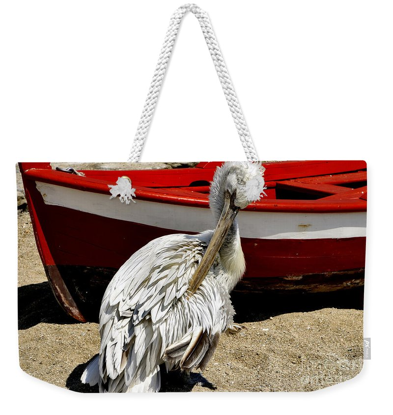 Pelican Weekender Tote Bag featuring the photograph Pelican In Mykonos II by Madeline Ellis