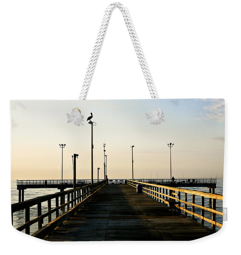 Pelican Weekender Tote Bag featuring the photograph Pelican Morning by Marilyn Hunt