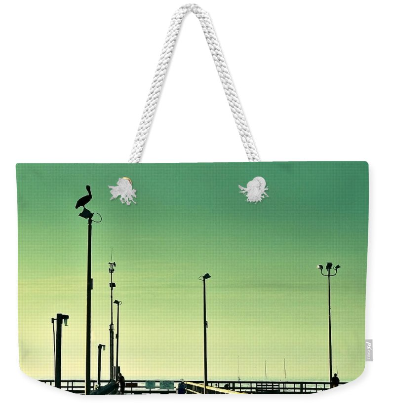 Americana Weekender Tote Bag featuring the photograph Pelican On Watch Duty by Marilyn Hunt