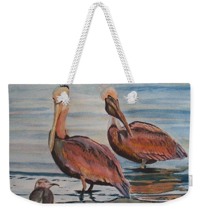 Pelicans Weekender Tote Bag featuring the painting Pelican Party by Karen Ilari