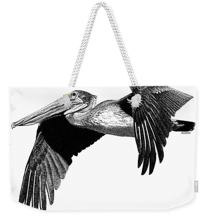 Pelican Weekender Tote Bag featuring the drawing Pelican by Scott Woyak