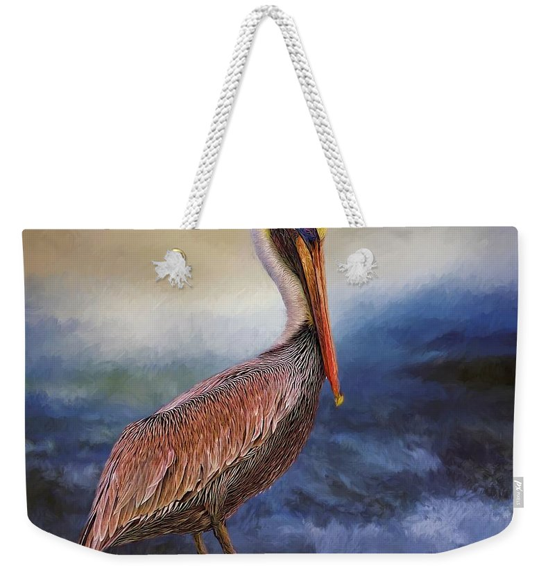 Alicegipsonphotographs Weekender Tote Bag featuring the photograph Pelican Seas by Alice Gipson