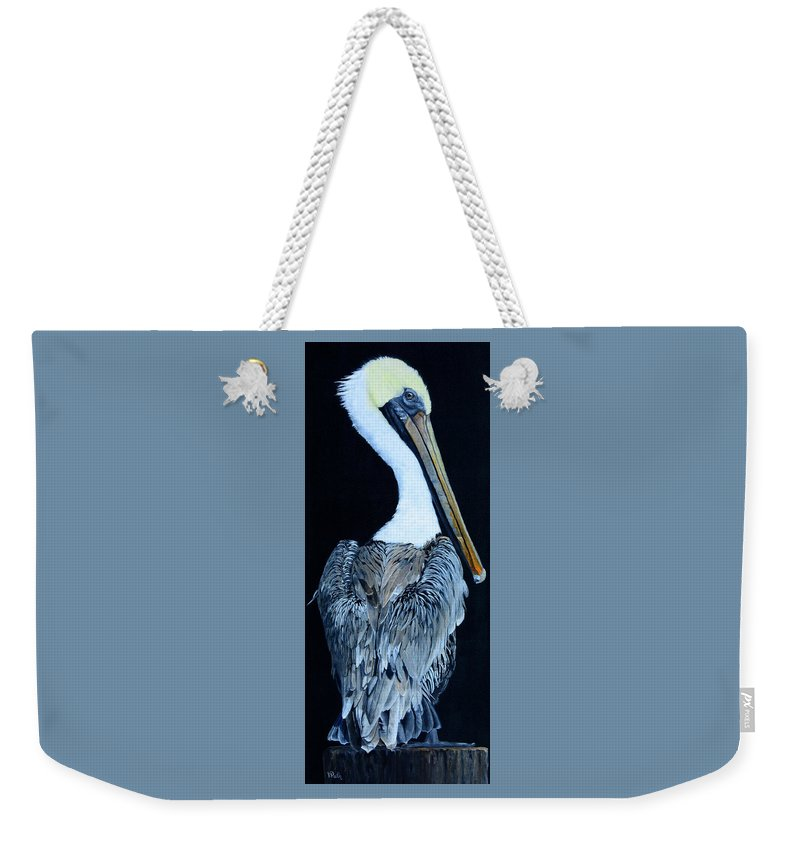 Pelican Weekender Tote Bag featuring the painting Pelican by Vicky Path