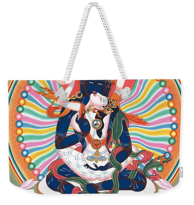 Pema Weekender Tote Bag featuring the painting Pema Heruka Guhya Jnana Dakini by Sergey Noskov