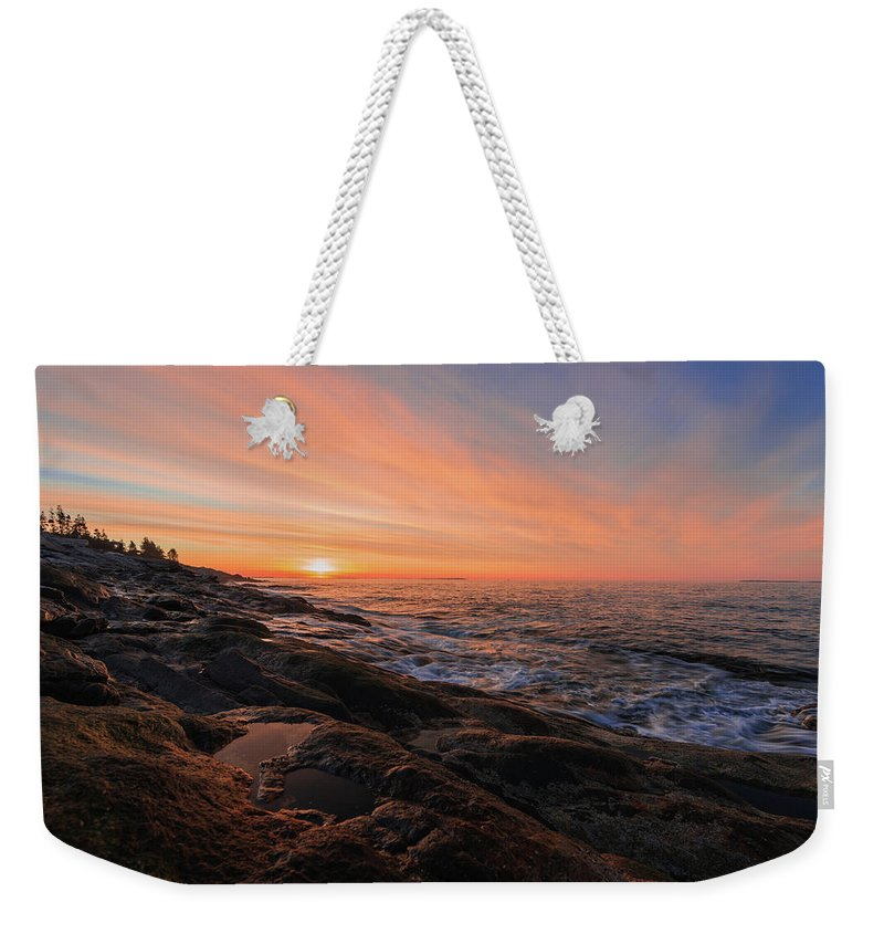Pemaquid Point Weekender Tote Bag featuring the photograph Pemaquid's Sky On Fire by Jesse MacDonald