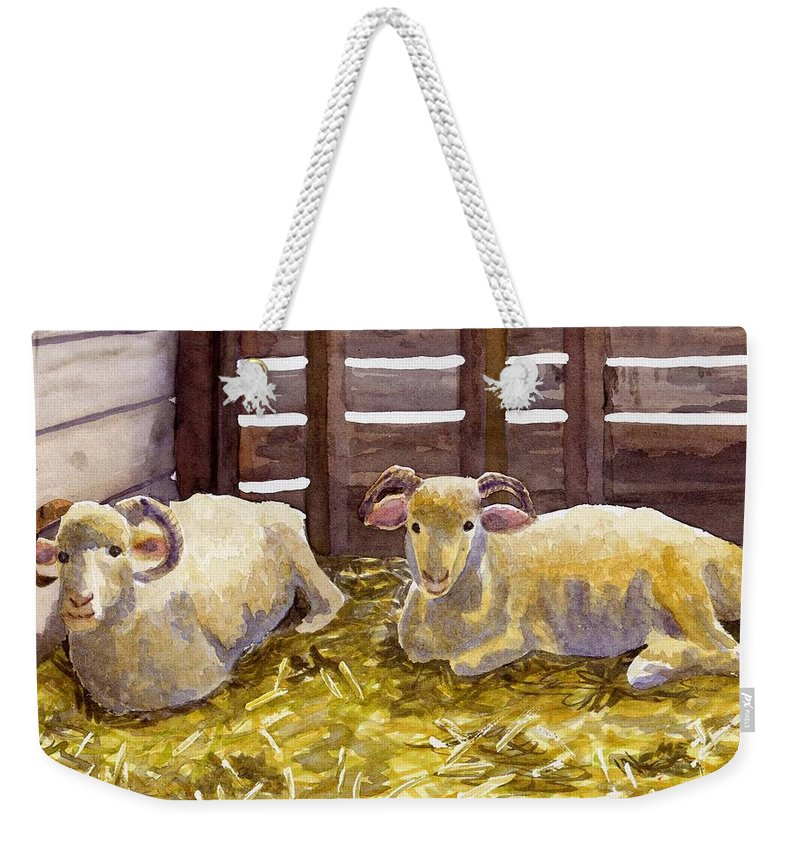 Sheep Weekender Tote Bag featuring the painting Pen Pals by Sharon E Allen