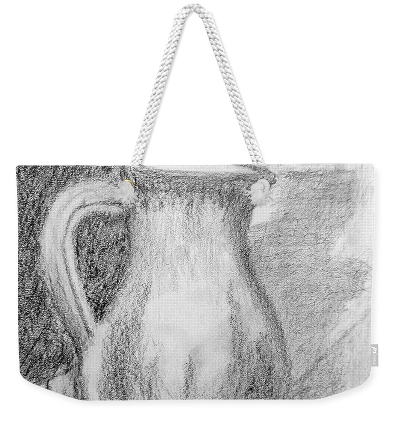 Pitcher Weekender Tote Bag featuring the drawing Pencil Pitcher by Jamie Frier
